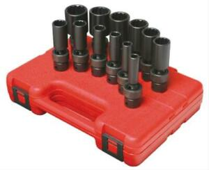 Sunex 12pc 3 8 Sae Deep 12pt Universal Impact Sockets Set Tools Swivel 3677