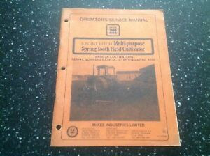 Mckee 3 Point Hitch Spring Tooth Field Cultivator Base Operators Manual Parts