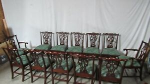 Maitland Smith Set 12 Dining Room Chairs Chippendale Mahogany