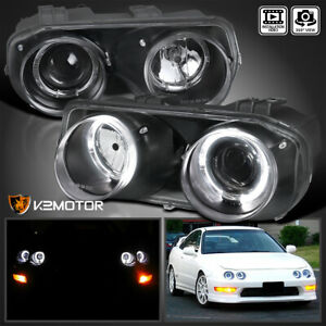 For Black 1994 1997 Acura Integra Led Halo Projector Headlights Lamps Left Right