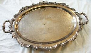 Vtg 25 Poole Old English Lg Oval Silverplate Butler Serving Tray Silver Plate