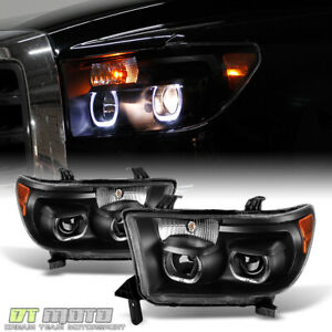 For Black 07 13 Toyota Tundra 08 17 Sequoia Quad Led Halo Projector Headlights