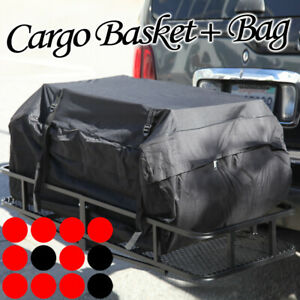Fit Jeep Rear Hitch Mount Cargo Rack Luggage Carrier Folding Basket Bag