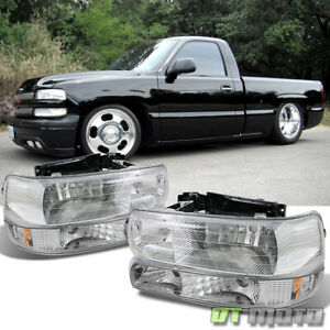 99 02 Chevy Silverado 00 06 Tahoe Suburban Headlights bumper Lights Left right