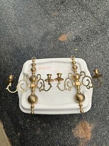 Pair Of Vintage Brass Candle Wall Sconces