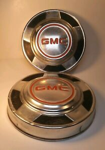 Set Of 2 1973 1987 Gmc Truck 1500 Dog Dish Hubcap Center Cap Poverty Cover Oem