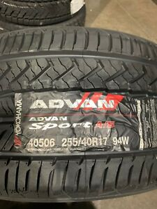 2 New 255 40 17 Yokohama Advan Sport A S Tires