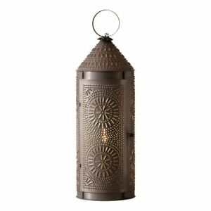 22 Inch Chimney Lantern Light In Blackened Punched Tin
