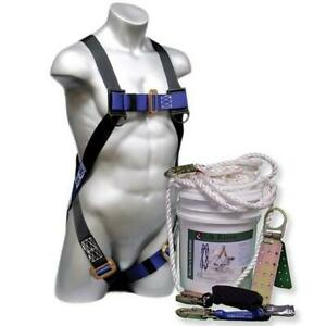 30 Roofer s Fall Safety Kit In A Bucket Harness Lanyard Lifeline Anchor