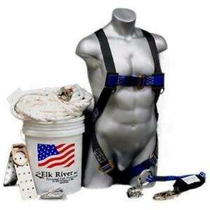 50 Roofer s Fall Safety Kit In A Bucket Harness Lanyard Lifeline Anchor