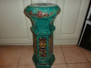 CHINESE POTTERY 67.4CM SIX SIDED TURQUOISE JARDINIERE STAND WITH BROWN amp; YELLOW