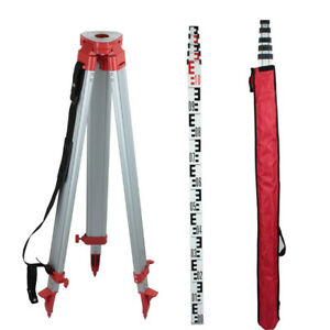 1 65m Aluminum Tripod For Laser Level Transits W 5m Staff Telescoping 5 Section