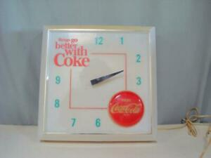 Coca Cola ''Things Go Better With A Coke'' Advertising Lighted Sign + Clock