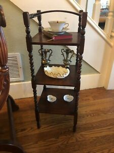 Small Oak What Not Table Shelf Turned Legs Three Tier Nice Details