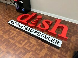 Brand New Dish Network Authorized Retailer Lighted Sign 7ft Outdoor