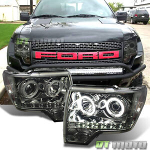 Smoked 2009 2014 Ford F150 Ccfl Halo Projector Headlights drl Daytime Led 09 14