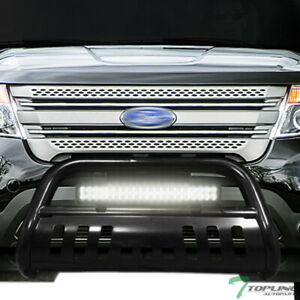 Topline For 2011 2019 Ford Explorer Blk Bull Guard With 120w Cree Led Light Bar