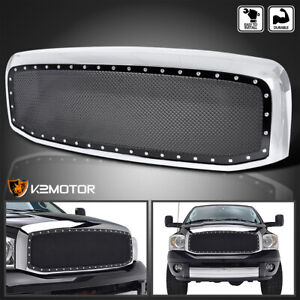 For 2006 2008 Dodge Ram 1500 2500 3500 Chrome Rivet Style Wire Mesh Grille Shell