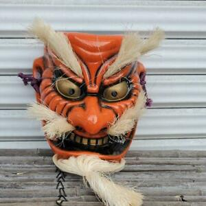 Japanese Antique Kagura Men Tengu Face Mask Evil Oni Kabuki Vintage Kyougen 5