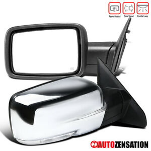 Fits 2009 2012 Dodge Ram 1500 Chrome Power Heated Pair Mirrors led Signal puddle