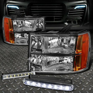 Clear Lens Headlight Amber Corner 8 Led Grill Fog Light For 07 14 Gmc Sierra