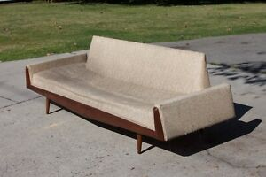 Large 8 Mid Century Modern Sofa Vintage Couch Wood Mid Century Survivor As Is