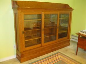 Antique Natural Oak Bookcase With Sliding Glass Doors