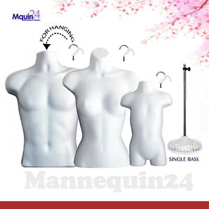 Male Female Toddler Torso Mannequin Set 3 White Forms 3 Hangers 1 Stand