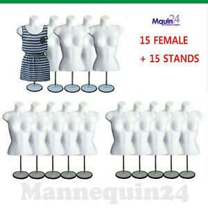 15 Mannequin Female Torso Form 15 White Dress Body Forms W 15 Stands