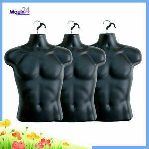 3 Mannequin Male Lot Of 3 Black Plastic Male Hanging Body Forms With 3 Hooks