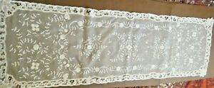 19c Antique Vtg Veil Shawl Edging Fine Net Brussels Princesses Tape Lace Hmade