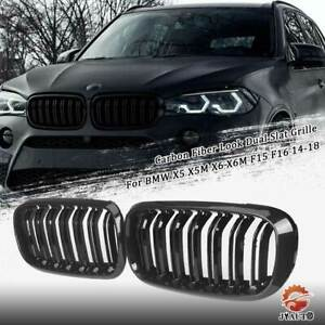 Front Grille Carbon Fiber Look Double Slat For Bmw X5 X5m X6 X6m F15 F16 14 18