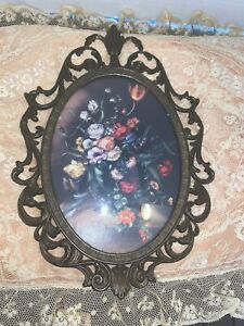 Vintage Frame Italian Made Brass Filigree Convex Glass