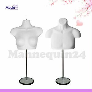 Male Female Mannequin Torso Set With 2 Stands 2 Hangers white Body Forms