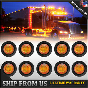 10x Amber 3 4 Mini Round Led Side Marker Lights For Truck Ford Suv Adornment