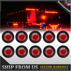 10x 3 4 Led Mini Round Truck Car Side Clearance Marker Bullet Light Red