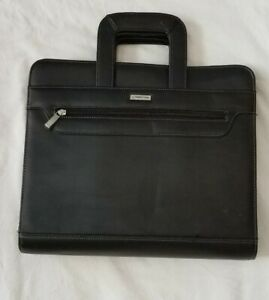 Euc Franklin Covey Black Leather 3 Ring Binder Briefcase Planner Handles Zipper