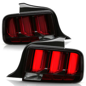 Clear Lens W Red Tube Sequential Signal Tail Lights For 2005 2009 Ford Mustang