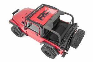 Rough Country Red Mesh Bikini Top Fits 1987 1995 Jeep Wrangler Yj Front