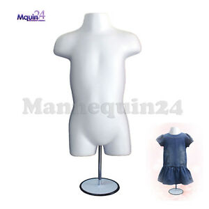White Mannequin Toddler Torso W metal Stand 19 38 Hooks For Hanging