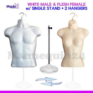 2 Torso Mannequins white Male Flesh Female Dress Body Forms 1 Stand 2 Hangers