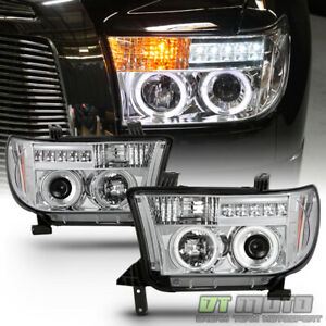For 2007 2013 Toyota Tundra 08 17 Sequoia Led Halo Projector Headlights Headlamp