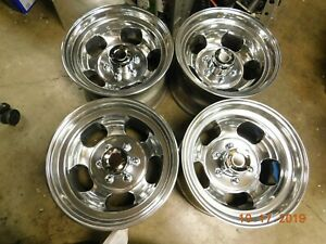 Set Polished 6 lug 16 5 X 9 3 4 Slot Mag Wheels Chevy Gmc Datsun 4x4 Truck Mags