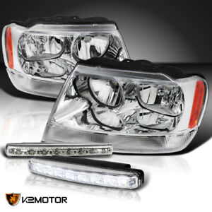 For 1999 2004 Jeep Grand Cherokee Clear Headlights 4w 8 led Bumper Drl Fog Lamps