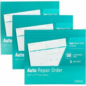 3x Auto Repair Order Invoices Forms Carbonless 3 part 50 Sets Per Book For Work