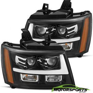 Polished Black 07 14 Chevy Suburban Tahoe Avalanche Led Projector Headlights
