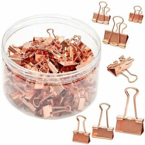 150pack 3 Sizes Rose Gold Binder Paper Clips Clamps File Clips Office Supplies