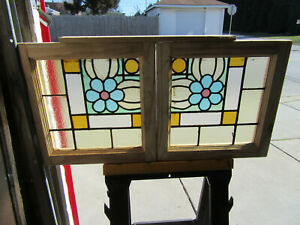 Pair Antique Stained Glass Windows 19 X 19 Each Architectural Salvage