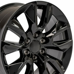 20x9 Wheels For Gmc Sierra Chevy Silverado Tahoe Yukon Black 20 Inch Rims Set 4