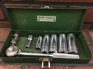 S k Tools Ratchet Sockets And Metal Box 6 Point